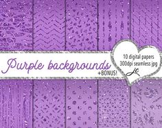 Purple Backgrounds Digital Papers + BONUS Photoshop Pattern File, Seamless, Textures, Clipart, Backgrounds, Personal and Commercial Use