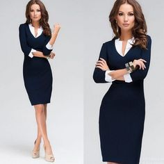Summer Womens OL Navy Office Formal Party Pencil Dress V-neck Work Bodycon Dress