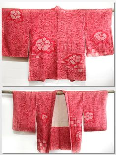 Japanese vintage red shibori kimono jacket haori with by CJSTonbo, $55.00