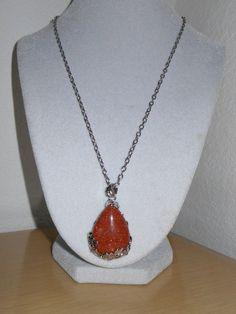 Brown Goldstone teardrop pendant with neck by CreationsbyMaryEllen, $18.97