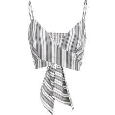 Christian Siriano Stripe Cropped Wrap Top (2.140 RON) ❤ liked on Polyvore featuring tops, christian siriano, stripe, v neck crop top, wrap top, cut-out crop tops and striped top