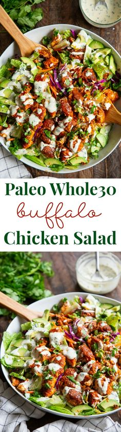Crispy Buffalo Chicken Salad with Cilantro Ranch (Paleo, Keto) This buffalo chicken salad is super addicting, easy to make, and filled with goodies! Crispy pan fried chicken tenders are tossed in 2 ingredient buffalo sauce and mixed with greens, Paleo Recipes, Low Carb Recipes, Whole Food Recipes, Dinner Recipes, Cooking Recipes, Whole30, Pan Fried Chicken Tenders, Clean Eating Recipes, Healthy Recipes