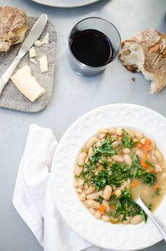 White Bean & Kale Soup in Roasted Garlic Broth