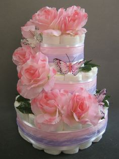 Butterfly diaper cake concept