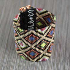 Ultra Wide Festive Bead Loom Bracelet Cuff Bohemian Boho Artisanal Western Santa Fe Native American Inspired Southwestern Sta