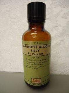 Iso-Propyl Alcohol Lilly Co. 91% Empty Vintage medicine Bottle