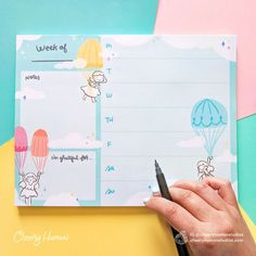 """Keep track of your weekly to-do's with this delightfully illustrated weekly planner notepad. Notes section is perfect for weekly reflections, thoughts, affirmations and more. """"I'm grateful for..."""" section is anice reminder to keep gratitude in mind.- Eachnotepad comes with 50tear-away pages- Notepad measures 8.5"""" x To Do Planner, Cute Planner, Weekly Planner, Planners, Notebook Sketches, Kawaii Planner, Simple Resume Template, Im Grateful, Planner Template"""