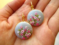 Items similar to Made to order Sakura Oriental Earrings Japanese Cherry Blossom Bright Light Delicate Soft Embossed Tiny Floral Classy Elegant on Etsy Polymer Clay Projects, Polymer Clay Creations, Polymer Clay Art, Handmade Polymer Clay, Polymer Clay Earrings, Polymer Clay Embroidery, Biscuit, Jewelry Show, Clay Miniatures