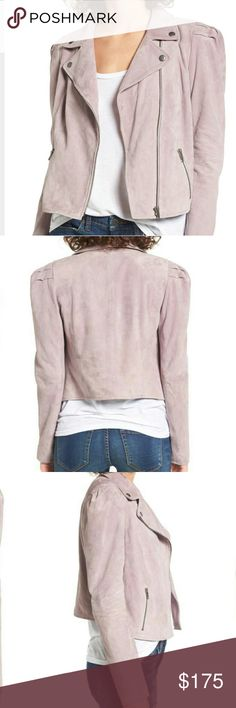 Leith Suede Purple Quail Moto Jacket Placed at the shoulders for trendy volume, this buttery soft suede jacket offers a fresh and feminine twist on a classic moto jacket!!! No flaws. Brand new with tags and never ever been worn. So soft!! Runs slightly small. Nordstrom Jackets & Coats