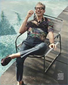 Jordan Barrett Channels George Michael for British GQ Style Relaxing poolside, Jeff Goldblum wears a Paul Smith shirt with Prada pants, a Josephs Shoes footwear. Gq Style, Gq Mens Style, Style Icons, George Michael, Paul Smith, Gq Australia, Jordan Barrett, Grunge, The Fashionisto