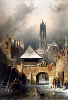 gaston la touche paintings   Charles Henri Joseph Leickert The Frozen River Canvas anysize 50% off