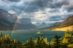 Rainbow over Wild Goose Island, Glacier NP