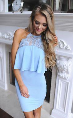 Light Blue Lace/Ruffle Top Dress - Dottie Couture Boutique