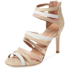 Joie Women's Zee Strappy Sandal - Size 36.5 ($179) ❤ liked on Polyvore featuring shoes, sandals, multi, high heel sandals, metallic sandals, joie sandals, metallic strappy sandals and metallic heel sandals