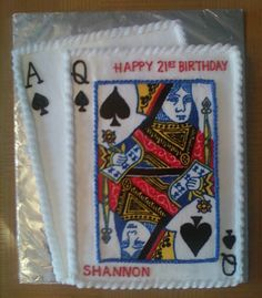 21st Birthday Blackjack (21) Cake - Made for my daughter's 21st Birthday. Queen of Spades is made using a frozen buttercream transfer (that took 3 1/2 hours to draw).