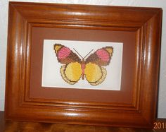 New Butterfly Framed Picture Finished Cross Stitch  Handmade Brown Yellow Pink #Handmade