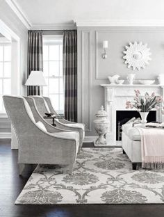 ♅ Dove Gray Home Decor ♅  living room in grey and a touch of pink