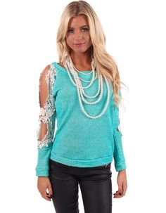 Lime Lush Boutique - Turquoise Crochet Detail Sleeve Top , $38.99 (http://www.limelush.com/turquoise-crochet-detail-sleeve-top/)