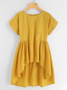 Shop dip hem zipper back blouse online. shein offers dip hem zipper back blouse & more to fit your fashionable needs. Hijab Fashion, Girl Fashion, Fashion Dresses, Fashion Design, Fashion Styles, Fashion Clothes, Trendy Fashion, Latest Fashion, Fashion Ideas