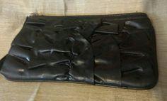 LULU NYC SMALL FAUX LEATHER BLACK PLEATED CLUTCH 8 1/2 X 5 INC NWOT #LULUNYC #Clutch