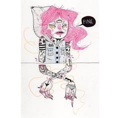 FINE.  Art by Heather Mahler #illustration you can buy her work on etsy