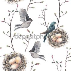 Pattern with nest, birds and tree twigs — Stock Illustration #73028171