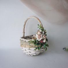 Excited to share the latest addition to my shop: Flower girl basket basket with flowers wicker basket twig basket rustic basket small basket kids basket wedding baskets wedding gift Dyi Gift Baskets, Wedding Gift Baskets, Rustic Baskets, Basket Crafts, Birthday Gift Baskets, Wicker Baskets, Wedding Gifts, Wedding Bride, Wedding Ideas