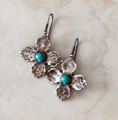 Turquoise Earrings Sterling Silver Boho Earrings Turquoise