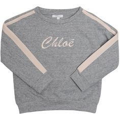 Chloé Logo cotton sweatshirt (330 BRL) ❤ liked on Polyvore featuring tops, hoodies, sweatshirts, sweaters, shirts, grey, cotton sweatshirts, grey sweatshirt, logo sweatshirts and logo top