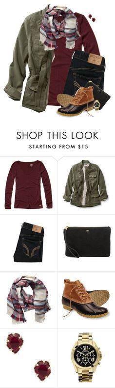 """""""Plaid scarf, burgundy & army green"""" by steffiestaffie ❤ liked on Polyvore featuring Hollister Co., L.L.Bean, FOSSIL, Pieces, Kendra Scott, Michael Kors and plus size clothing"""