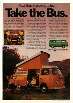 "1977 VW Bus ad - ""Take the Bus"" Orange Campmobile bus"