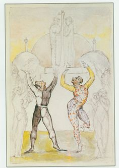 """Illustrations to John Bunyan's *The Pilgrim's Progress* By William Blake: 23 The examiners of Vanity Fair """"hanged irons upon them, and led them in chains up and down the fair, for an example and terror to others, lest any should speak in their behalf, or join themselves unto them"""""""