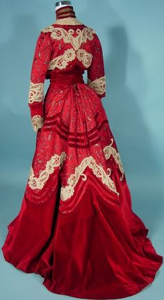 c. 1902 Trained Afternoon 2-piece Gown of Cherry Red Brocade, Ruby Red Velvet and White Lace Trim by Dressmaker M.A. Tansley, Springfield, Massachusettes   Antique Dress