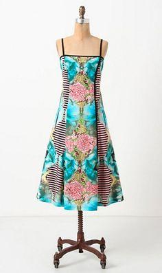 Anthropologie Botanical Patchwork Dress