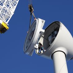 Those with wind turbine service technician jobs are responsible for both regular maintenance and performing complicated repairs of wind turbines. Renewable Energy Jobs, Green Jobs, Stem Learning, Wind Power, Windmill, Wind Turbine, Career, Image, Sky