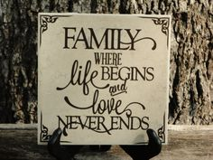 Family where life begins and love never ends tile with premium vinyl lettering on Etsy, $16.00