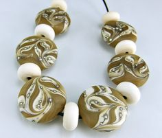 Etched Tan Ivory Silver Round Organic Lampwork Beads Set SRA