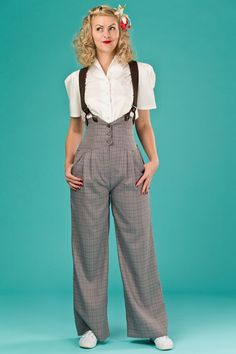 "The Emmy ""The Miss Fancy Pants Slacks Brown Weave'' with Suspenders / Braces"