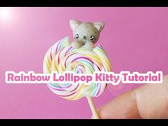 Rainbow Lollipop Kitty Cat polymer clay tutorial