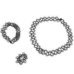 12 Sets Schmuck-Sets Tattoo Choker Elastische dehnen Halskette Ring Armband Retro Henna Vintage Boho 80 S 90 S (12 Sets) - http://schmuckhaus.online/unbekannt/12-sets-1-12-sets-schmuck-sets-tattoo-choker-ring-80