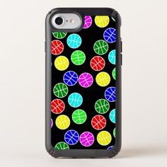 Black basketball rainbow phone case