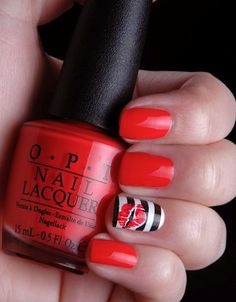 OPI red fun accent nail