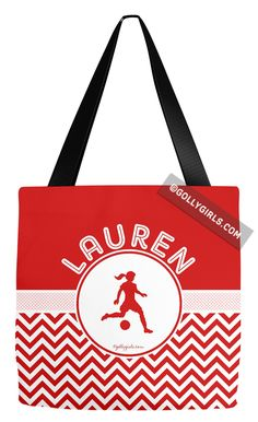 Golly Girls: Personalized Simple Red Chevron Soccer Tote Bag only at gollygirls.com