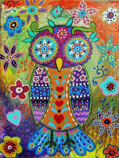Whimsical owl Bird Painting by prisarts