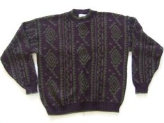 THE MEN'S STORE Men's Sweaters Size-L Brown/Green Made in USA Nice! #THEMENSSTORE #Cardigan