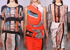 Cedric Charlier S/S 2013- Refined Brush Marks – Geometric Form – Engineered Pattern placements – Stripes and Bold brushed pattern - Texture through Brushed paint – Light Grounds