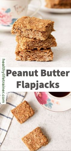 Peanut butter flapjacks are sweet, chewy and rich oat bars loaded with peanut butter and chocolate chips. They are a high source of protein, a boost of fibre and filled with healthy fats for a great on the go breakfast, a healthy snack or a yummy dessert. This healthy flapjack recipe uses wholesome ingredients that guarantee a fantastic and rich taste. The most wonderful thing about this recipe is it's so quick and easy to make! #flapjacks #Peanutbutterflapjacks #Britishflapjacks