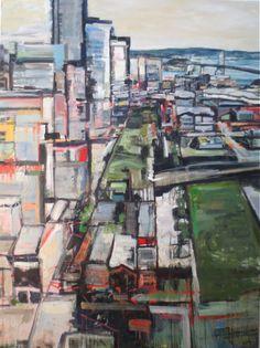 Abstract painting: 'SF Transbay', by Kim Ford Kitz. kimfordkitz.com