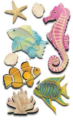 Jolee's Boutique Le Grande FISH AND CORAL Dimensional Scrapbooking Stickers - Undersea Adventures Sticker Set