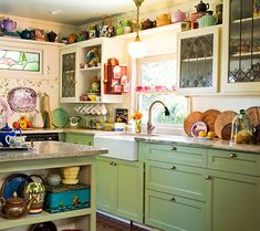 It is becoming apparent to me that I have fallen in love with green painted cabinets....so cozy!